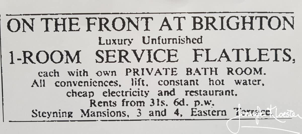 1941 Advertsiement For Steyning Mansions