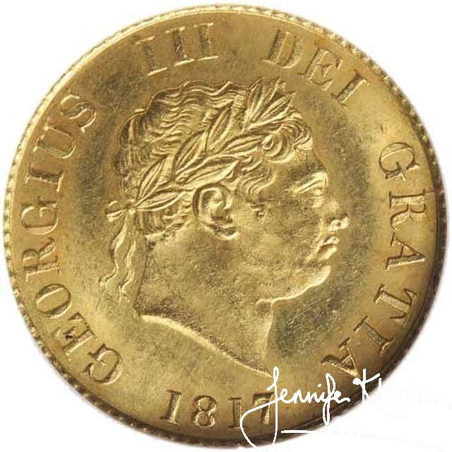 obverse george iii new coinage half sovereign 1817 s3786. nearly uncirculated
