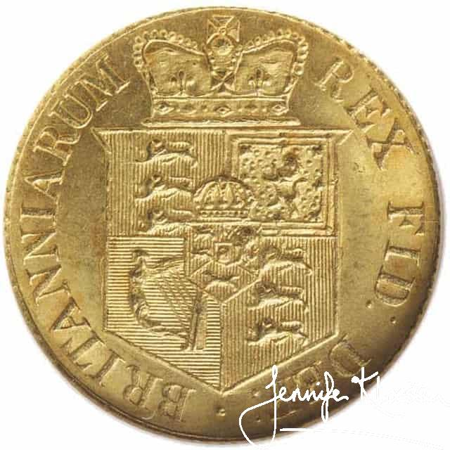 reverse george iii new coinage half sovereign 1817 s3786. nearly uncirculated